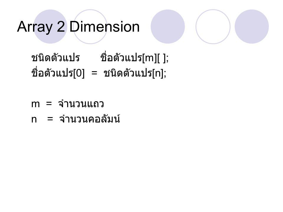 Array 2 Dimension ชนิดตัวแปร ชื่อตัวแปร[m][ ];